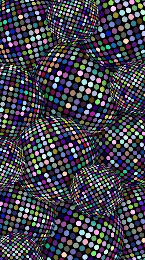 Bandeira vertical das bolas do disco do brilho O lilás azul sparkles textura Vislumbrar o fundo abstrato das esferas Deco criativ ilustração do vetor