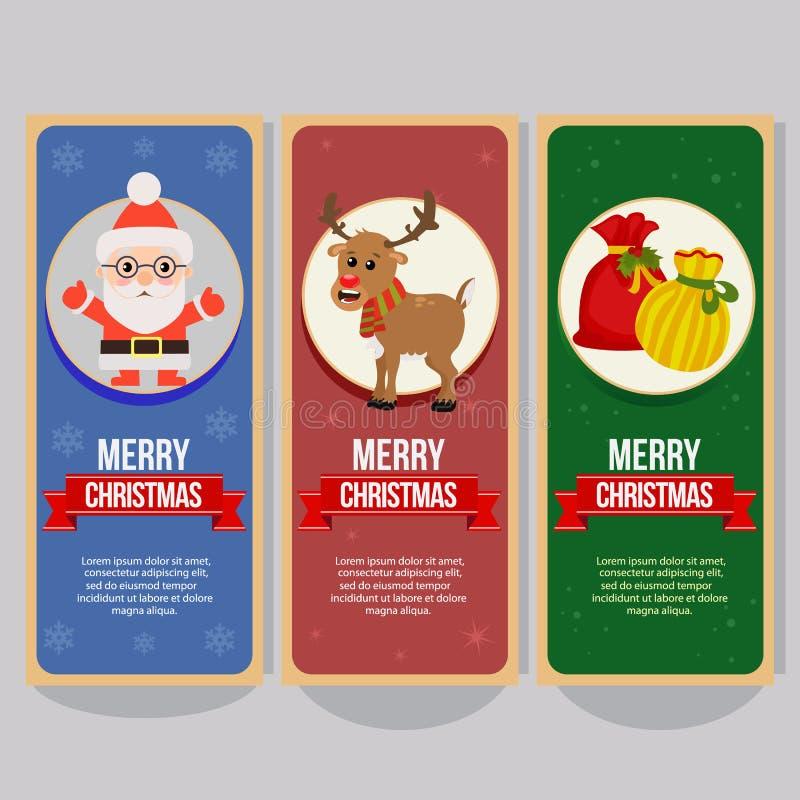 Bandeira vertical do Natal com os sacos atuais de Papai Noel ilustração royalty free