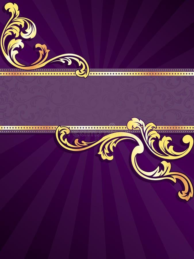 Bandeira vertical roxa com o ouro filigree ilustração stock