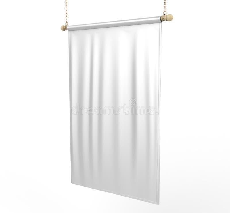 Bandeira vertical vazia branca da bandeira para a zombaria do projeto da cópia acima do molde ilustração 3D ilustração royalty free