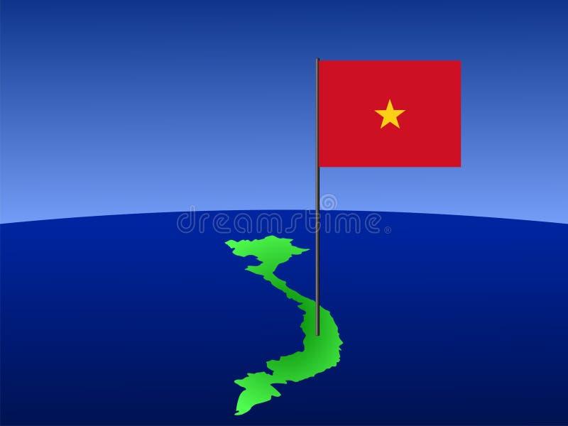 Bandeira vietnamiana no mapa ilustração do vetor