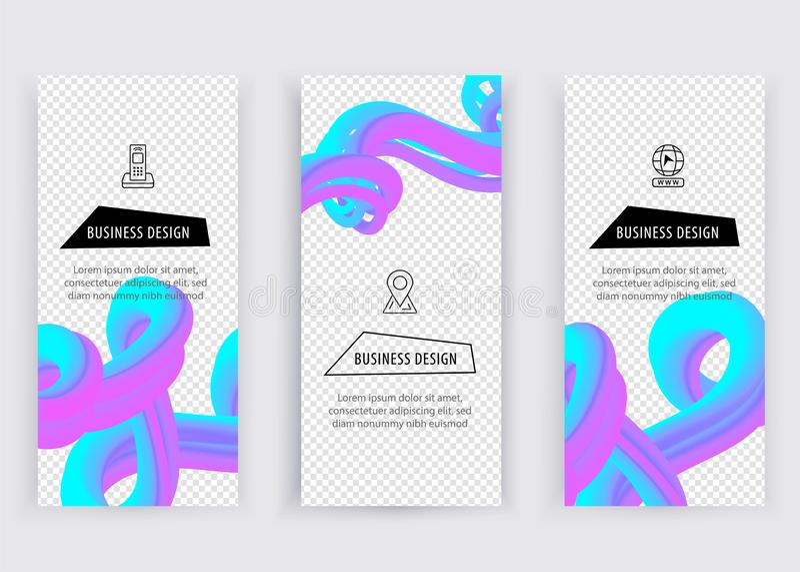 Bandeira violeta azul do inclinação Elemento abstrato do projeto da onda com líquido colorido no fundo transparente, vetor ilustração stock