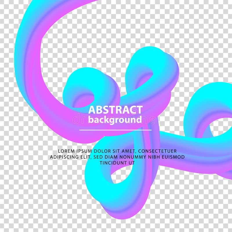 Bandeira violeta azul do inclinação Elemento abstrato do projeto da onda com líquido colorido no fundo transparente, vetor ilustração royalty free