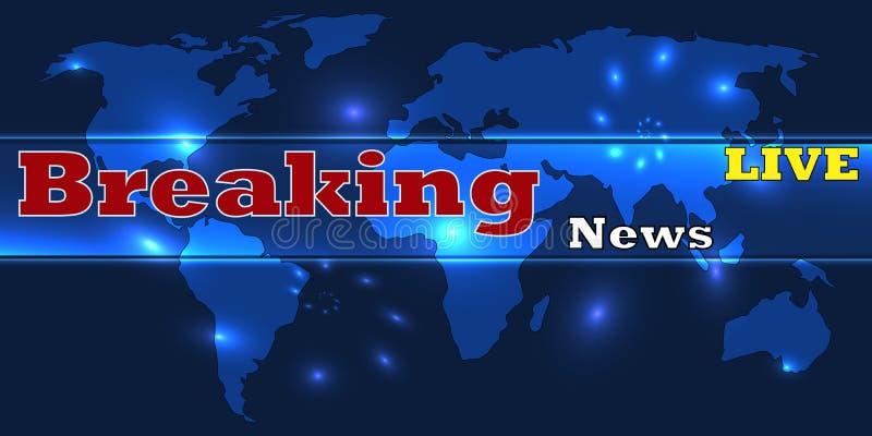 Bandeira viva das notícias de última hora no worldmap Fundo das notícias do mundo da tecnologia do negócio Ilustração do vetor ilustração stock