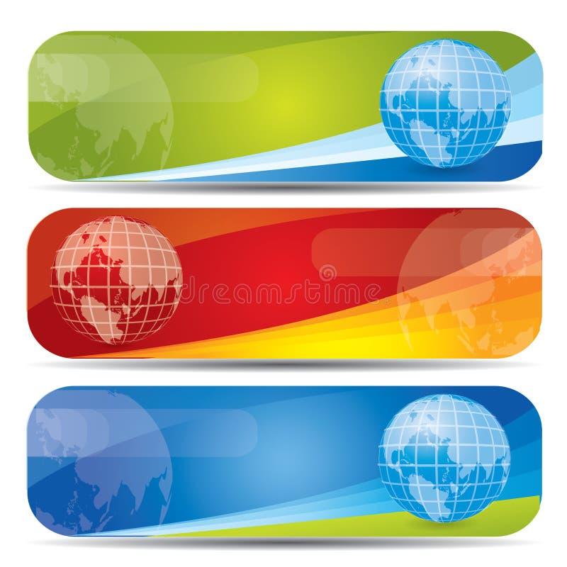 Bandeira Web2 ajustada com a terra ilustração do vetor