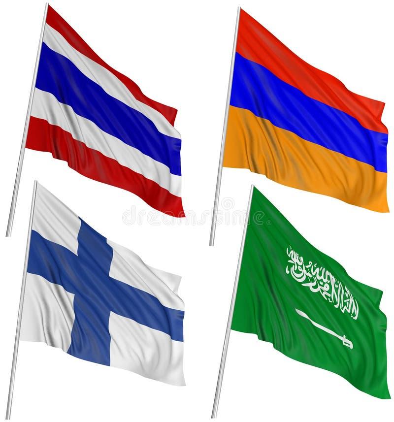 bandeiras 3D do mundo ilustração stock
