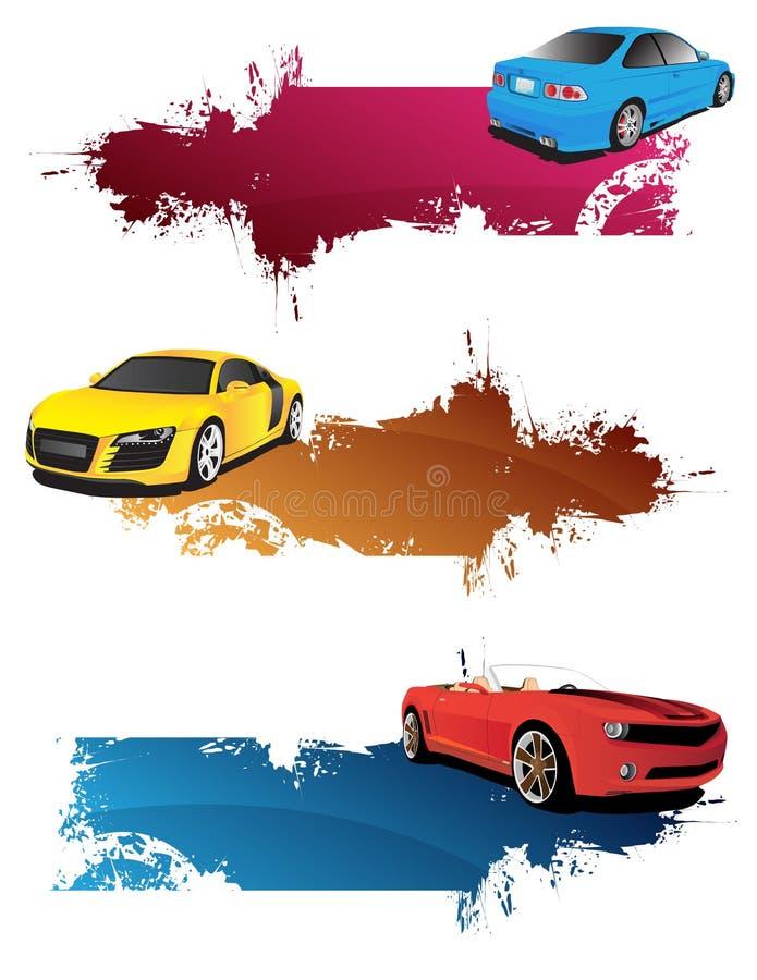 Bandeiras abstratas com carros ilustração do vetor