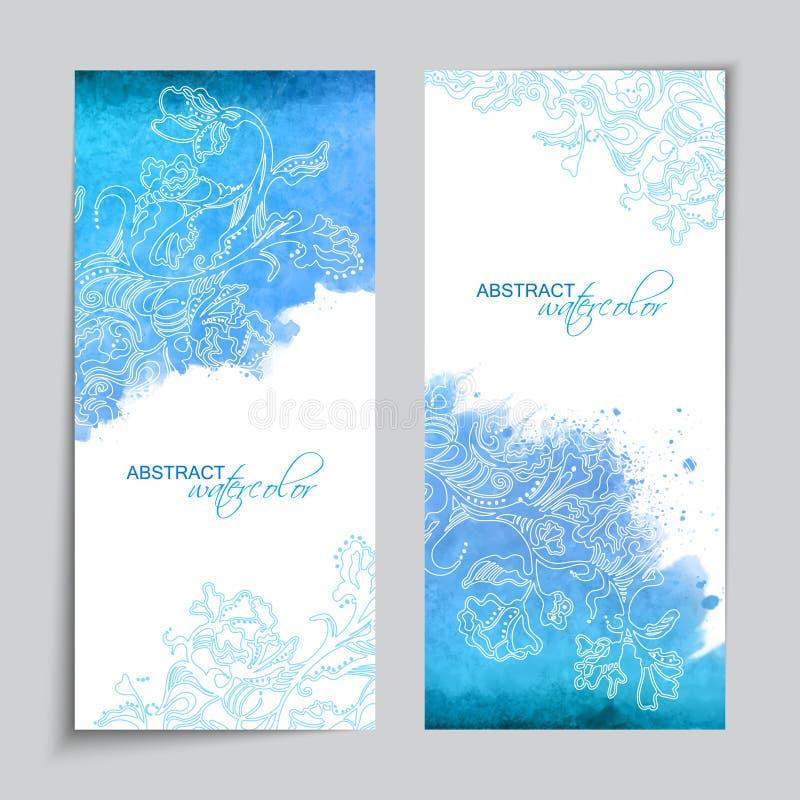 Bandeiras abstratas do azul da aquarela do vetor ilustração stock