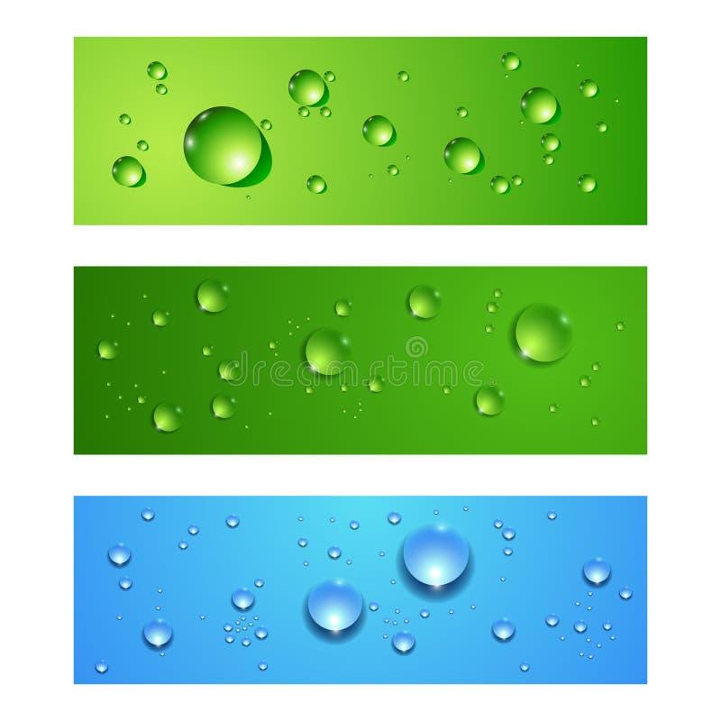 Bandeiras abstratas do vetor ajustadas com gotas da água ilustração do vetor
