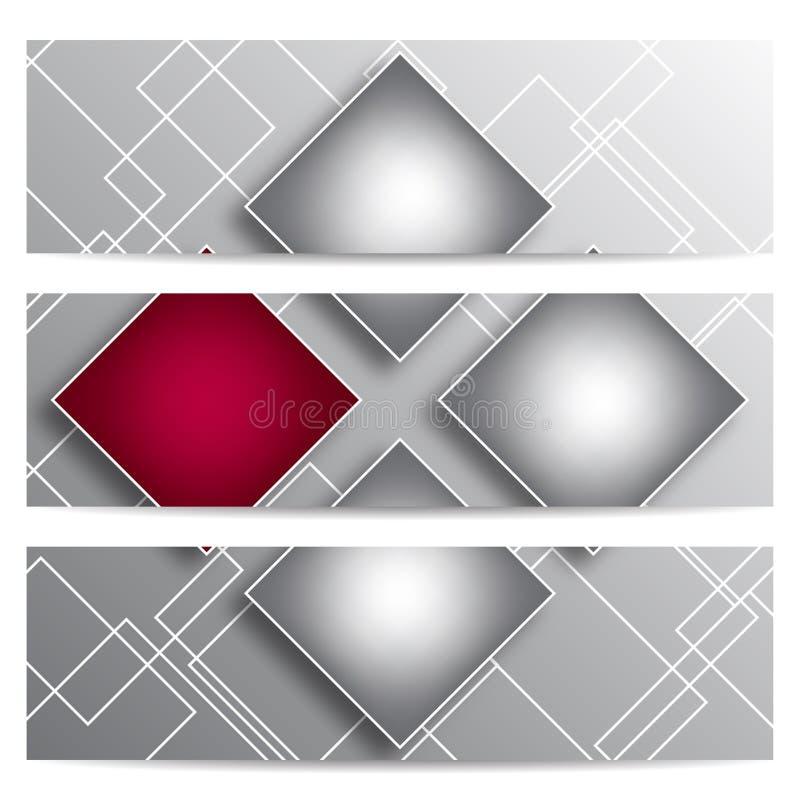 Bandeiras abstratas do vetor com quadrados ilustração stock