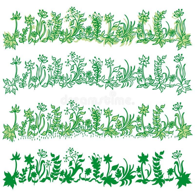 Bandeiras ajustadas da grama verde ilustração do vetor