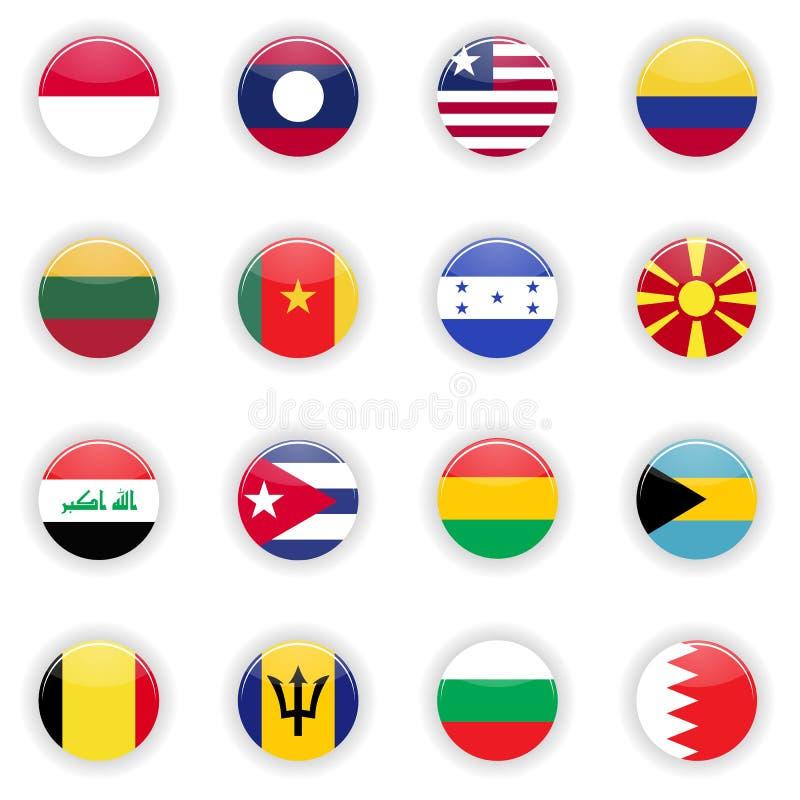 Bandeiras ajustadas do mundo ilustração royalty free
