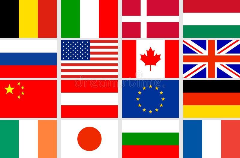 Bandeiras ajustadas do vetor ilustração royalty free