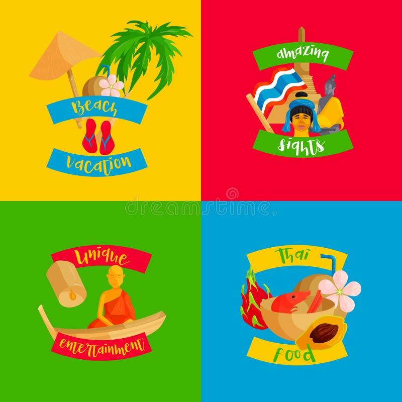 Bandeiras ajustadas, estilo liso de Tailândia ilustração do vetor