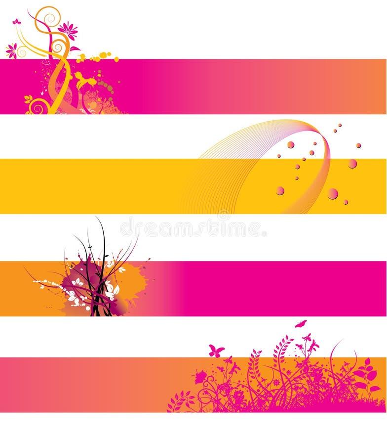 Bandeiras alaranjadas e cor-de-rosa ilustração do vetor