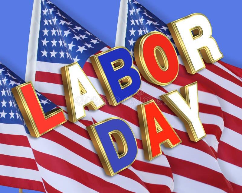 Bandeiras americanas do Dia do Trabalhador ilustração royalty free