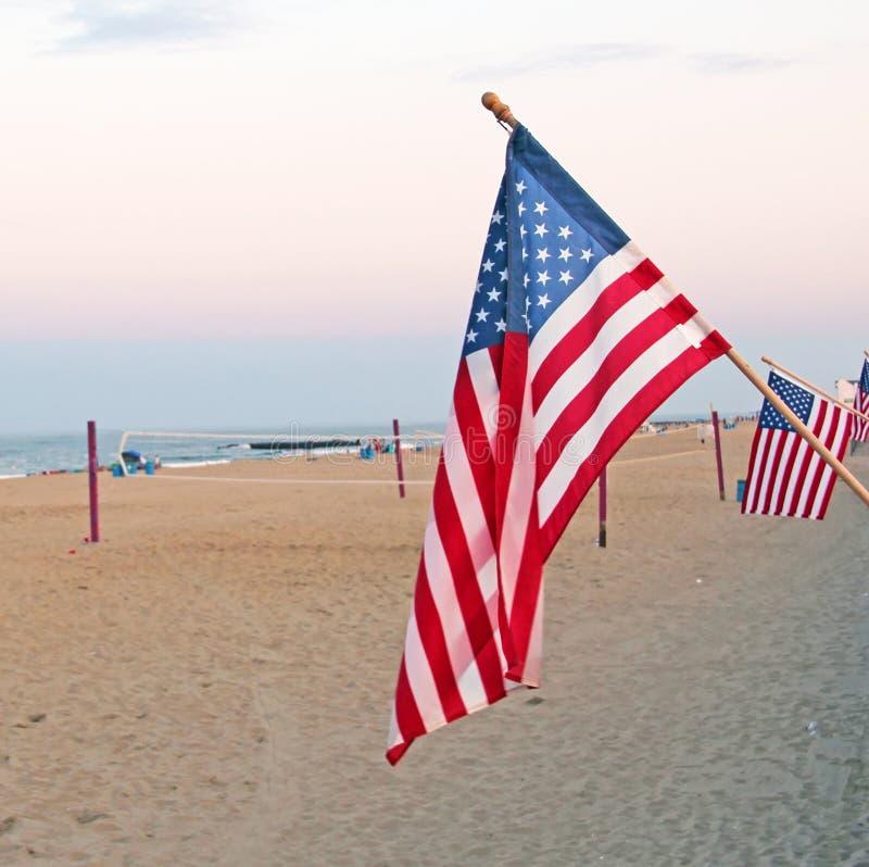 Bandeiras americanas na praia fotografia de stock