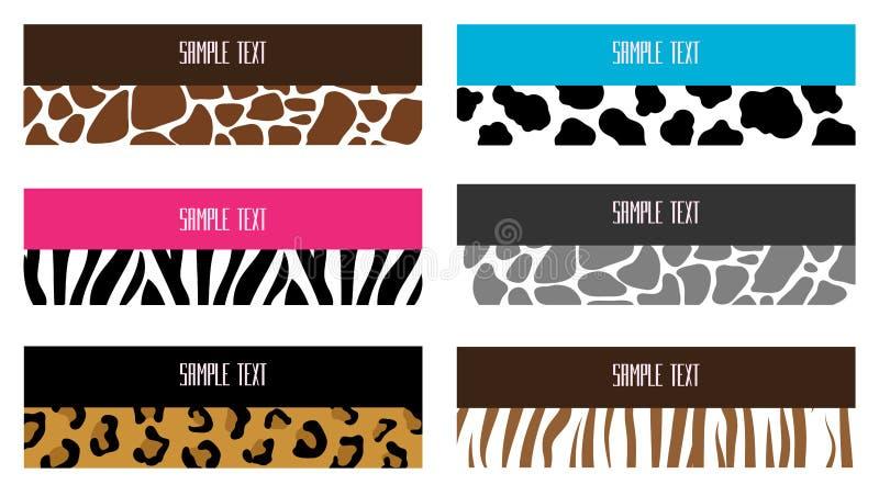 Bandeiras animais do teste padrão ilustração stock