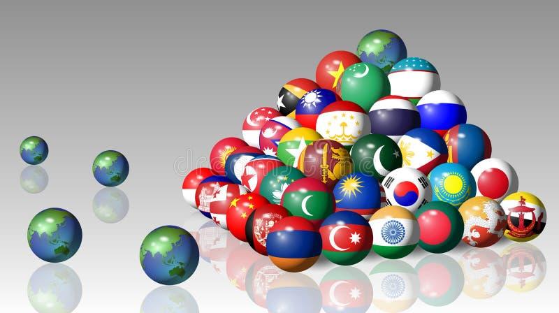 Bandeiras asiáticas ilustração royalty free