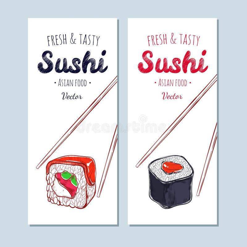 Bandeiras asiáticas do alimento Mão tirada, sushi do vetor ilustração stock