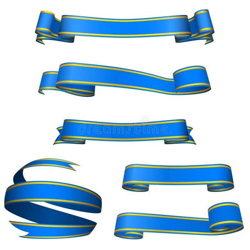 Bandeiras azuis ilustração stock