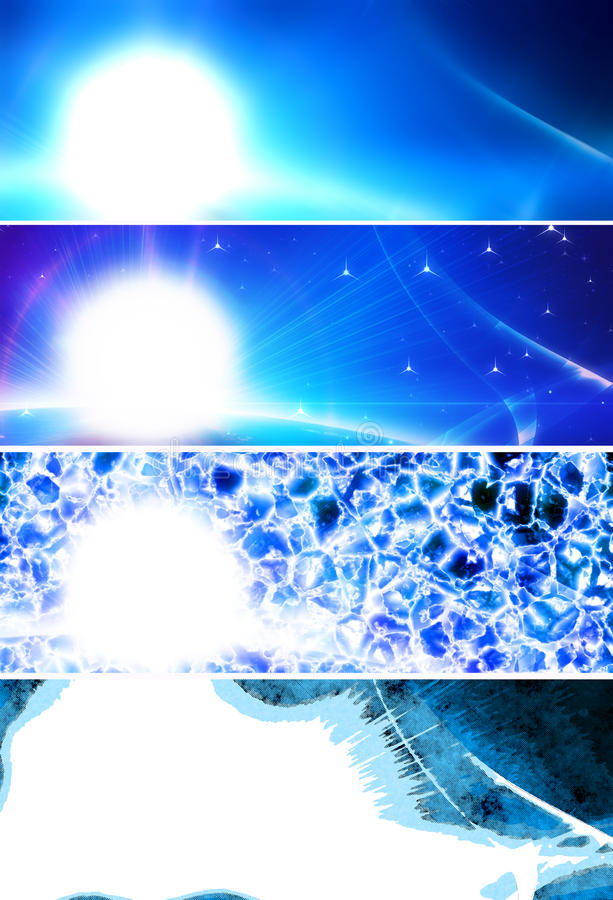 Bandeiras azuis abstratas ilustração do vetor