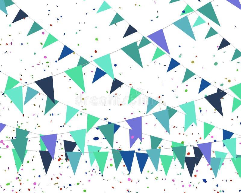 Bandeiras azuis - aniversário de um menino ilustração stock