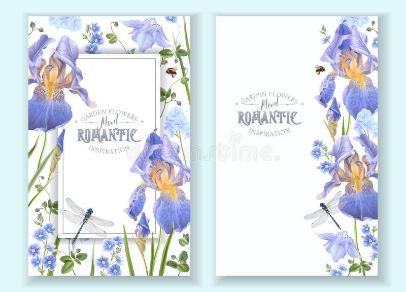 Bandeiras azuis da flor ilustração stock