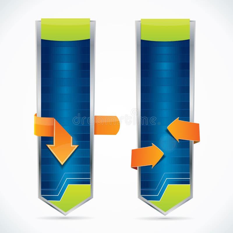 Bandeiras azuis lustrosas editable do estilo vertical do Web ilustração stock
