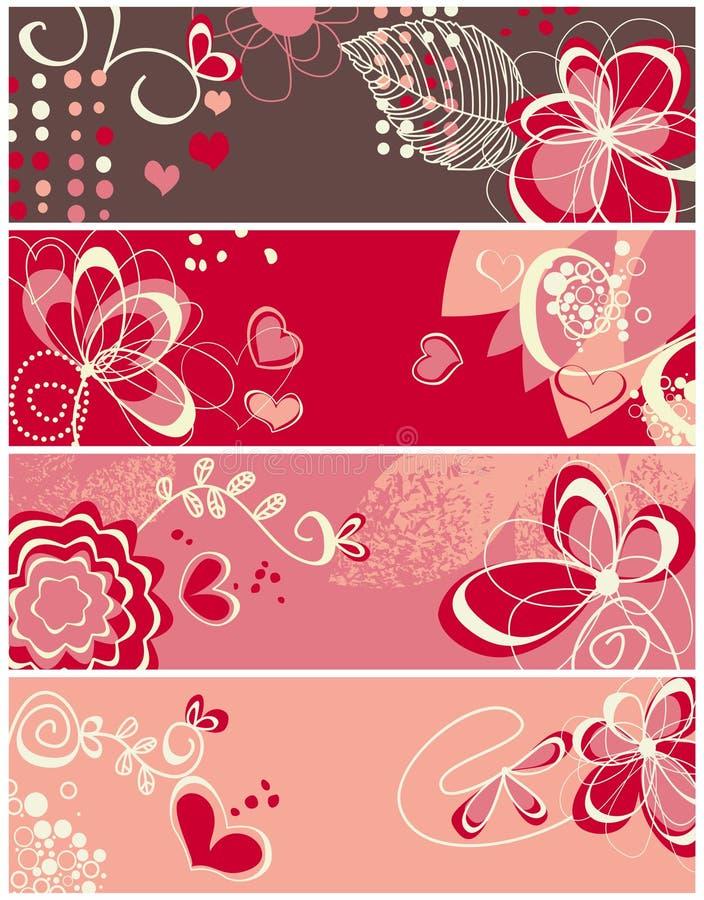 Bandeiras bonitos do amor ilustração do vetor