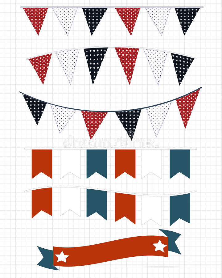 Bandeiras brancas e azuis vermelhas ilustração royalty free