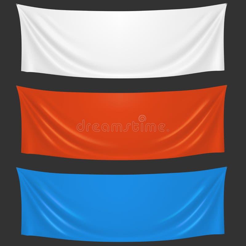 Bandeiras brancas, vermelhas e azuis vazias da boa vinda de pano ilustração stock