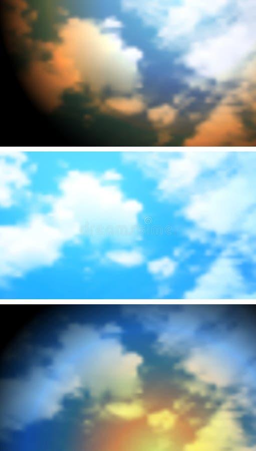 Bandeiras brilhantes abstratas do céu das nuvens ilustração stock