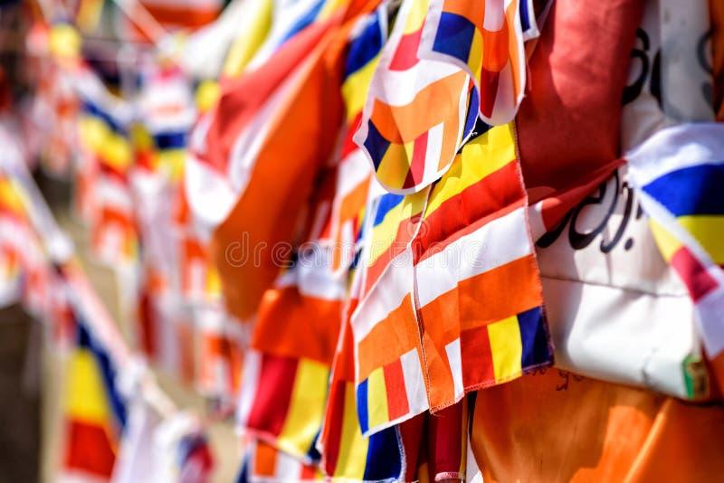 Bandeiras Buddhistic foto de stock