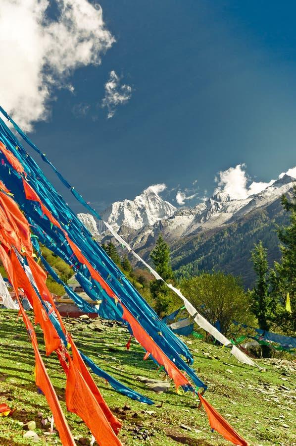 Bandeiras budistas coloridas da oração nas montanhas tibetanas de China imagens de stock