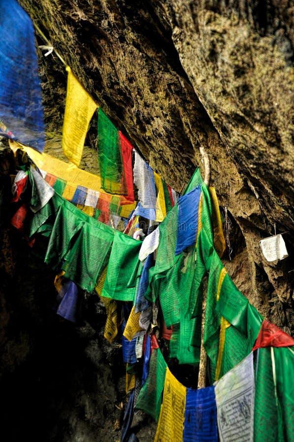 Bandeiras budistas da oração na Índia fotografia de stock royalty free