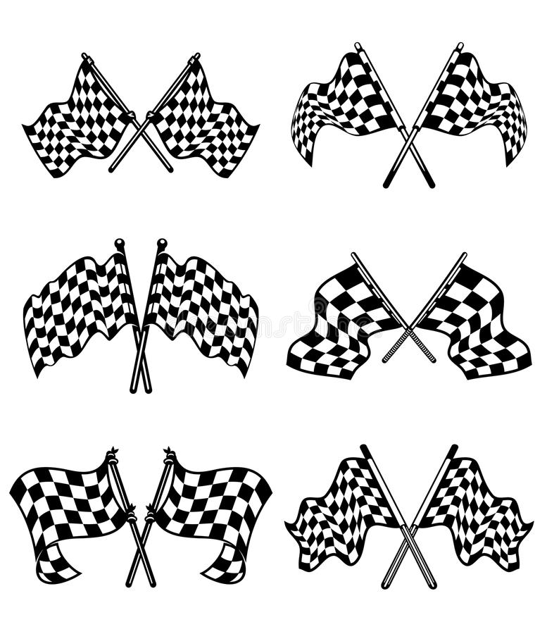 Bandeiras Checkered Ajustadas Fotografia de Stock Royalty Free