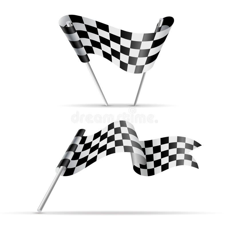 Bandeiras Checkered Bandeira preto e branco do esporte ilustração royalty free