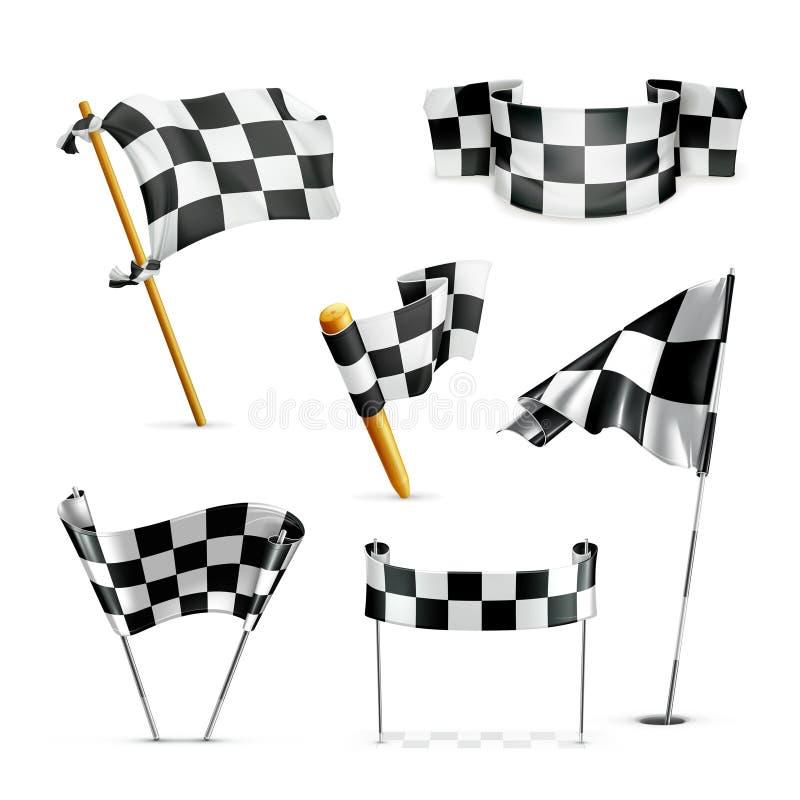 Bandeiras Checkered, grupo ilustração do vetor