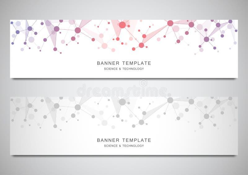 Bandeiras científicas e tecnologicos do vetor Fundo abstrato com estruturas moleculars ilustração do vetor
