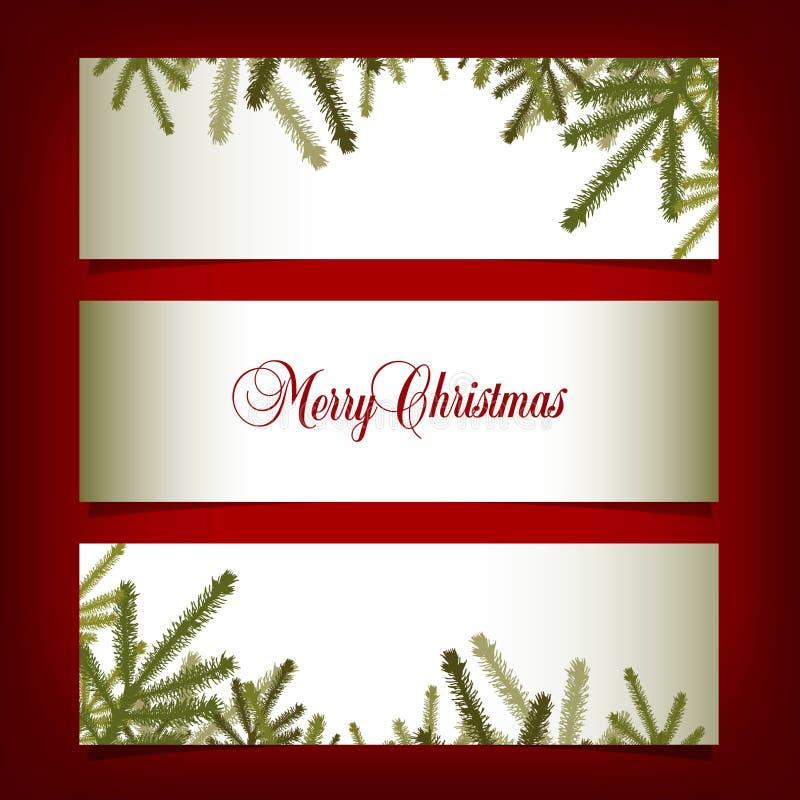 Bandeiras clássicas do Natal com agulhas do pinho ilustração royalty free