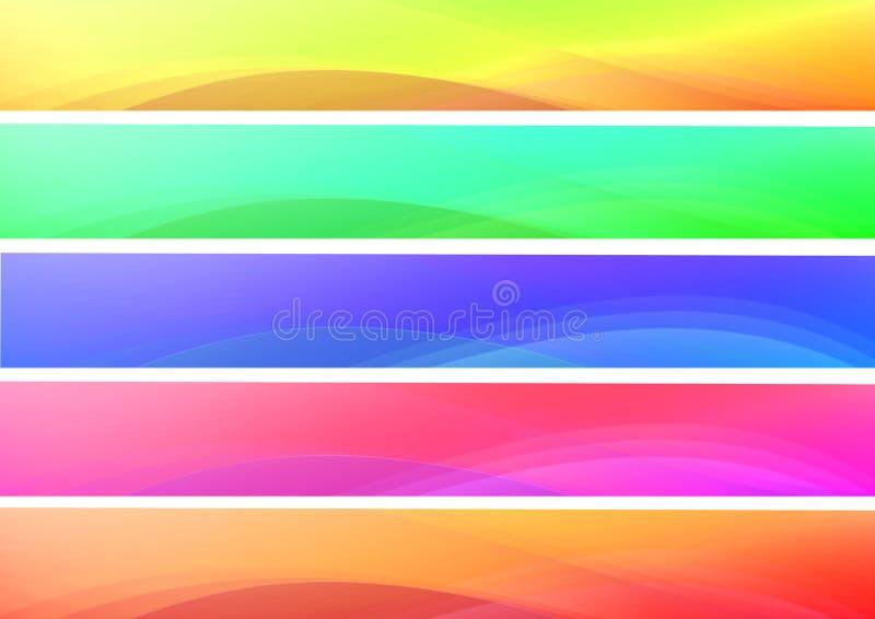 Bandeiras coloridas abstratas das ondas ilustração stock