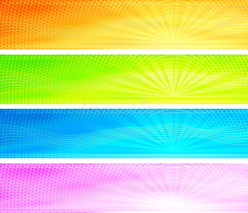 Bandeiras coloridas abstratas do fundo do nascer do sol ilustração do vetor