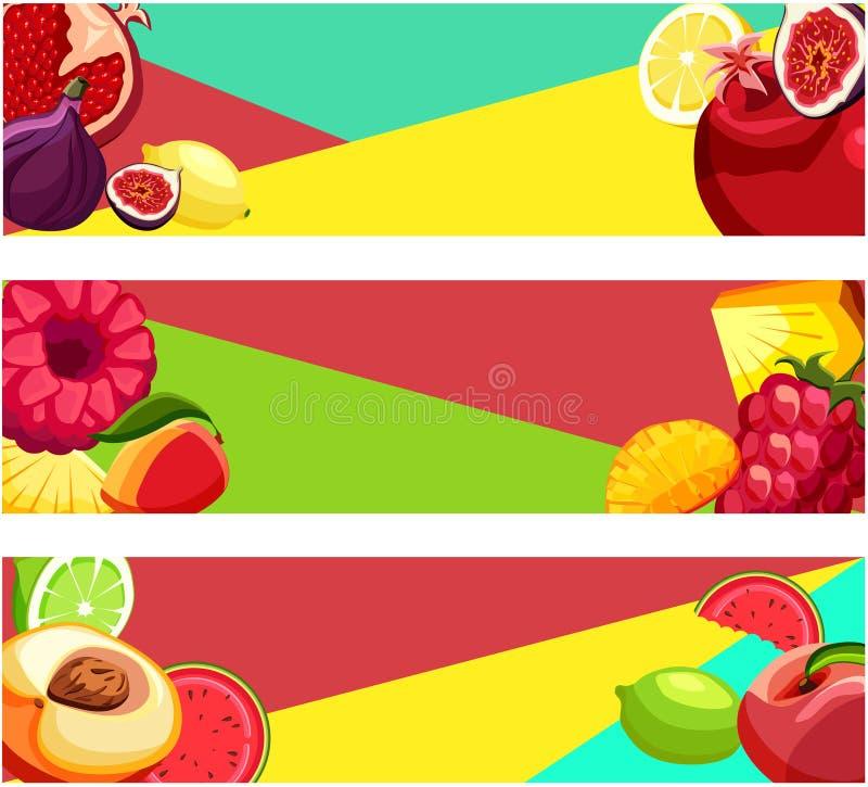 Bandeiras coloridas brilhantes com frutos tropicais ilustração do vetor