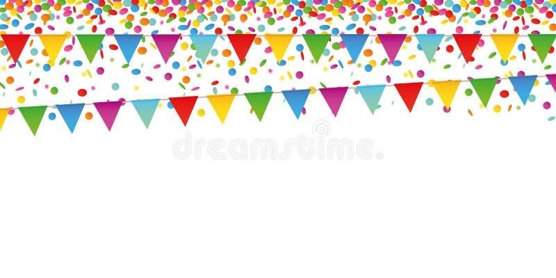 Bandeiras coloridas da chuva e do partido dos confetes no fundo branco ilustração do vetor