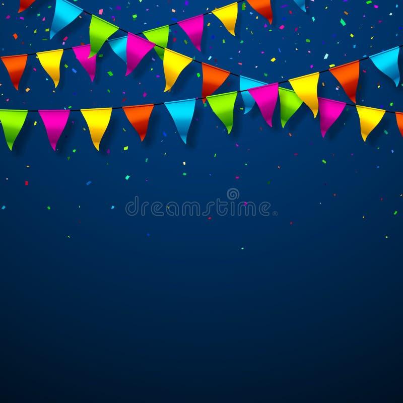 Bandeiras coloridas da estamenha com confetes ilustração do vetor