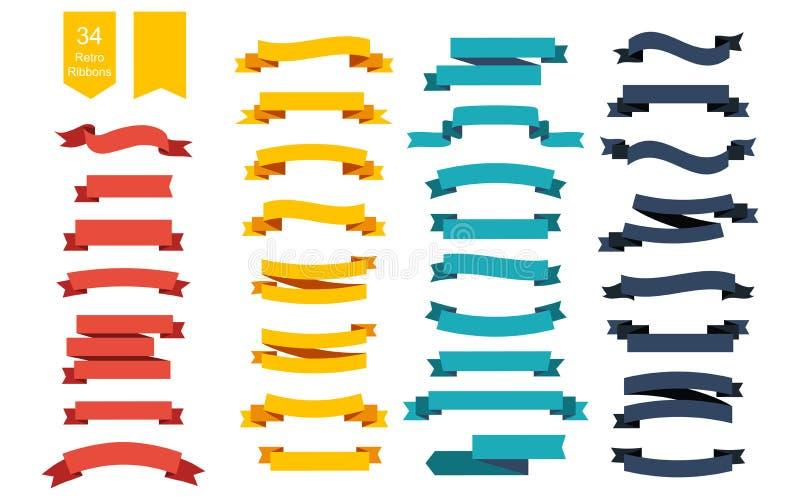 Bandeiras coloridas da fita do vetor Grupo de 34 fitas ilustração royalty free