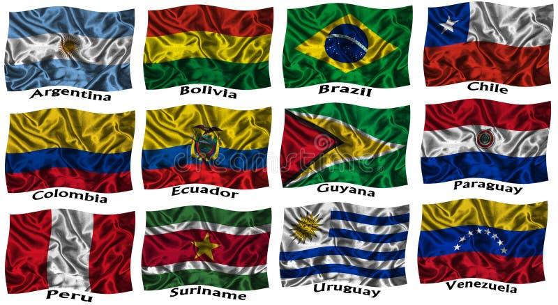 Bandeiras coloridas de ondulação de Ámérica do Sul ilustração stock