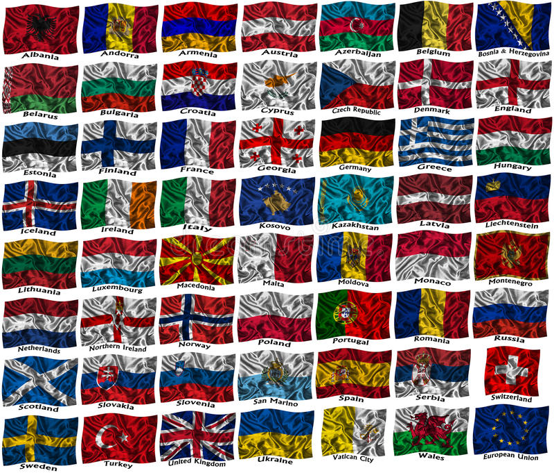 Bandeiras Coloridas De Ondulação De Europa Foto de Stock