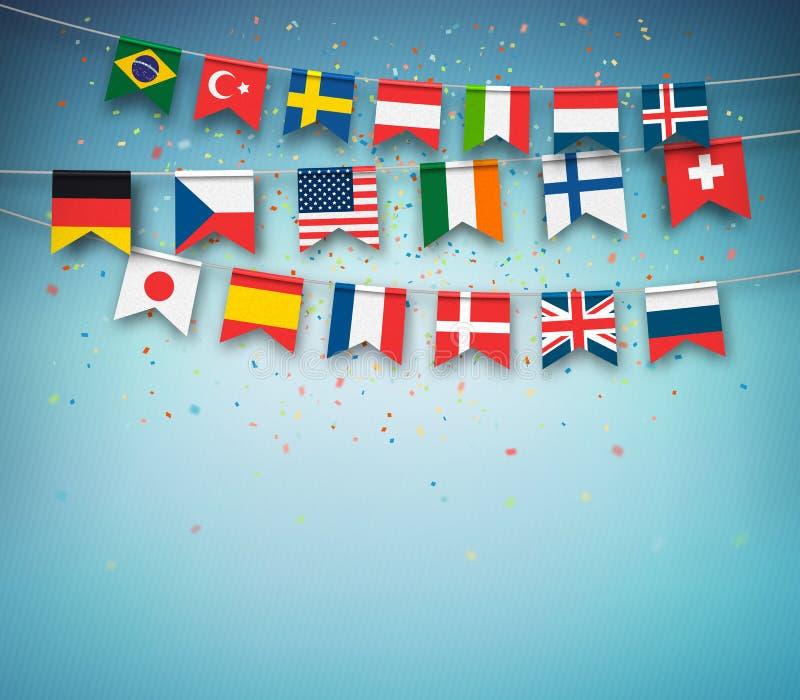 Bandeiras coloridas do mundo diferente dos países Festão com bandeiras internacionais ilustração stock